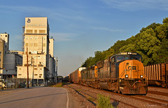 "Westbound Auto Train in Kansas City, MO (""Righteous"" Grant G.) Tags: csx csxt up union pacific railroad railway locomotive emd power train trains west westbound auto automotive manifest freight kansas city missouri"