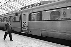 Catch a Train (Roi.C) Tags: train standing walking running trainstation reflection man people word europe lisbon lisboa portugal outdoor outside candid monochrome black white blackwhite blackandwhite bw light bright composition framing nikkor nikon april 2018 window windows frame view shot sharp photo photograph camera 28140mm travel trip nikond5300 photography street capital urban ligh monotone mono streetphotography