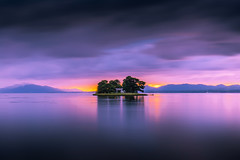 sunset 5148 (junjiaoyama) Tags: japan sunset sky light cloud weather landscape yellow orange pink blue contrast color bright lake island water nature autumn fall calm dusk serene reflection