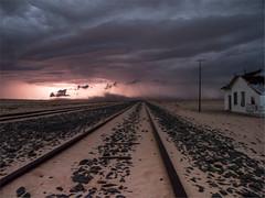 Thunder Storm in the Namib desert, Namibia (Nanooki ʕ•́ᴥ•̀ʔっ) Tags: africa garub nikdefinecolour namibia railwaystation ©suelambertlrpscpagb lightening thunder storm deserted duststorm sandstorm rain bluehour leadinglines iso5000 olympus omdem1markii olympusm12100mmf40lens wideangle composition