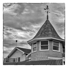 Wind is out of the West... (Timothy Valentine) Tags: 2018 weathervane 0818 window turret vacation silverefex datesyearss blackandwhite camden maine unitedstates us