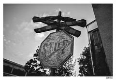 STOP (Aljaž Anžič Tuna) Tags: stop sign andrejs cross old used abandoned ljubljana slovenia photo365 project365 onephotoaday onceaday 365 35mm 365challenge 365project nikond800 nikkor nice naturallight nikon nikkor28mm 28mmf28 28mm f28 d800 dailyphoto day bw blackandwhite black white blackwhite beautiful railroad