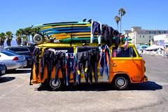 Velvia Beetle Van. (TheodoreWLee) Tags: xe3 23mm wetsuit hippie van fujifilm venicebeach california f2 surfboard beetle 60s surfer fuji palmtree kapowui volkswagen velvia parkinglot volkswagon