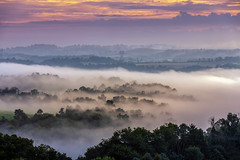 Ohio Sunrise (Roy Manchester) Tags: blue canon 5dmk4 ef70200f28isiiusm eos ef availablelight canonllenses clouds colors fog sunrise sky geotag gps ohio trees outdoors orange mountains valley