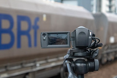 Photoing the video (Mike McNiven) Tags: creative focus arty salford central stone gbrf gbrailfreight railfreight creativefocus throughascreen videocamera camera