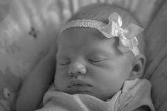 White satin bow. (katebosworth1) Tags: child monochromatic bow satin newborn lips girl bokeh sleep sony