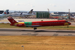 OY-RUE Douglas DC9-83 on 25 August 2018 Heathrow (Jersey Aviation Images 2018) Tags: aircraft airplane aeroplanes aeroplane aircraftspotters planes flyingmachines aviation