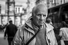 Inquiring Minds (Leanne Boulton (Away)) Tags: portrait people urban street candid portraiture streetphotography candidstreetphotography candidportrait streetportrait eyecontact candideyecontact streetlife old elderly man male face eyes expression mood feeling emotion stare tone texture detail depthoffield bokeh naturallight outdoor light shade city scene human life living humanity society culture lifestyle canon canon5dmkiii 70mm ef2470mmf28liiusm black white blackwhite bw mono blackandwhite monochrome glasgow scotland uk