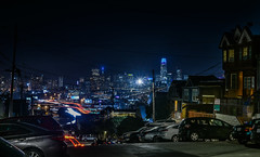 san bruno avenue skyline (pbo31) Tags: bayarea california nikon d810 color summer 2018 boury pbo31 sanfrancisco city urban night black dark lightstream motion traffic roadway over skyline salesforce 101 highway 80 potrerohill