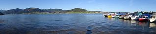 Panoramablick vom Ufer des Sihlsee bei Willerzell