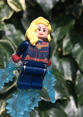 Captain Marvel in flight (FxanderW) Tags: lego marvel superheroes superhero minifigure minifigures captainmarvel mcu movie skrull shield sword infinitywar