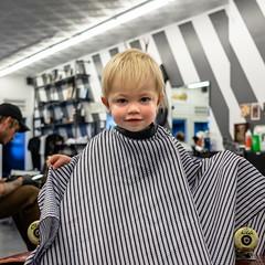 Clark's First Haircut - Before (Chase Hoffman) Tags: colorado color chasehoffman denver chasehoffmanphotography cute summer portrait person face clark chair fujifilm fujifilmxt10 fuji fujinonxf23mmf14r normal haircut yeahbud boy barber properbarbershop barbershop toddler