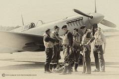 SOME OF THE FEW (mark_rutley) Tags: flyinglegends airshow pilots raf airforce military reenactment reenactors thefew worldwar2 iwmduxford mono blackandwhite spitfire