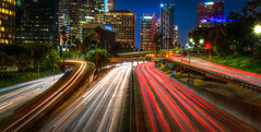 Los Angeles, California (Darcey Prout) Tags: la losangeles nikon d800 1424 lightstreaks trails downtown ca california hwy buildings us america night longexposure wideangle wide road explore inexplore