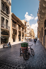 Downtown of Beirut (Nick Sloter) Tags: lebanon beirut streetphotography street bicycle photography nikon nikond750 sigma1020mm sigma sky summer holiday travel explore travelphotography strets city buildings architecturephotography architecture archdaily islamicarchitecture islam blue color colors stone old downtown