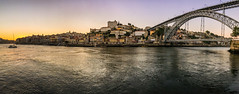 Atardecer en Oporto (Tina Tatay) Tags: sunset atardecer oporto porto portugal eiffel puente brigde river sun boat barco rio bahia paisaje ciudad skyline