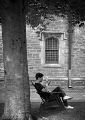 Freshman Move-in Day Relaxin' (Dalliance with Light (Andy Farmer)) Tags: reader summerheat campus ivyleague littlehall princetonuniversity summicron50mm leicam6 hc110dile bw fan film ilforddelta100 princeton newjersey unitedstates us