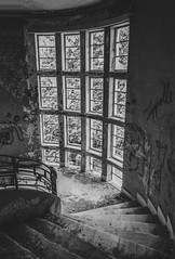 Going Down The Stairs... (panos_adgr) Tags: nikon d7200 monochrome bw abandoned hotel radion kamena vourla greece travel photography building architecture windows ambient light textures wall view stairs