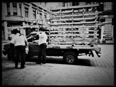 Truck (TheKinkyKid) Tags: iphone hipstamatic victoria blackeys supergrain blackeysupergrain blackandwhite streetphotography urbanexploration bnw bw monochrome documentaryphotography candidphotography man strangers gentlemen workers automobile truck road sidewalk street people men car mexico city mexicocity mood sunny happy morning