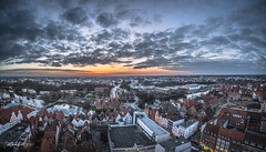 Luebeck from Above (Northcraft Photographs) Tags: sun sunset sonne sonnenuntergang from above von oben lübeck luebeck northcraft farben colors wolken clouds high city stadt hanse hansestadt holstentor sony alpha a57 sigma
