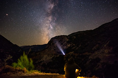 Chasing the Milky Way (free3yourmind) Tags: milky way chase chasing stargazing man selfie night sky greece greek skies mountains torch light rays looking watching
