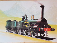 Steamtrain type 1A loc 500 engeland 1845 (DymphieH) Tags: postcards steamtrains offer2018