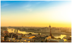 Panorama of Budapest by morning golden hour (4th Life Photography) Tags: budapest panorama panoramic view goldenhour sun sunlight morning river danube water reflection horizon dusk twilight golden fog cityscape bridge architecture urbanity urbanpanorama skyline sunrise scenic bluesky parliament building hungary capital