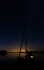 Under Cassiopeia (AESTRACT) Tags: sailing sailingboat sea ocean coast sweden night stars starrynight milkyway constellations