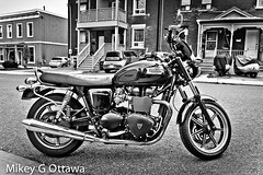 Triumph Bonneville B&W - Ottawa 09 18 (Mikey G Ottawa) Tags: mikeygottawa canada ontario ottawa street city bw moto motorrad motorbike motorcycle bonneville triumph triumphbonneville vignette edit lightroom iso400 f56 1125sec 38mm