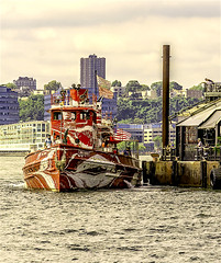 """Fireboat John J Harvey Leaving Pier Frying Pan Docking In Hudson River (nrhodesphotos(the_eye_of_the_moment)) Tags: dsc045423001084 """"theeyeofthemoment21gmailcom"""" """"wwwflickrcomphotostheeyeofthemoment"""" fireboatjohnjharvey hudsonriver dock fryingpierrestaurant waterfront manhattan metal newjersey water river boat outdoors landscape buildings architecture flags"""