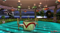 Ambient lighting blog (bellesonsie) Tags: refuge dinner table lighting romance kalopsia chairs glass reflection secondlife sl lantern hanging water night moonlight moon topiary gold