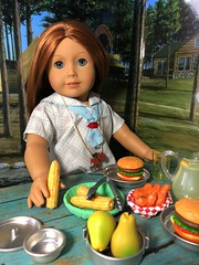 Emily enjoys lunch (Foxy Belle) Tags: molly american girl doll historic character camp diorama scenes settings braids uniform summer food lunch picnic table cardboard craft ooak emily bennett ag 18 inch wwii 14 scale