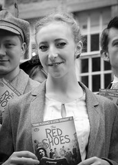 Street portrait from the 2018 Edinburgh Festival Fringe - The Red Shoes (Gordon.A) Tags: scotland edinburgh fringe edinburghfestival edinburghfestivalfringe edfringe edfest august 2018 embra auldreekie dùnèideann festival festiwal festivaali festivalen wyl féile festspiele theatre actor artist arts artsfestival performingartsfestival performer performers street event eventphotography entertainer entertainers creative culture urban city outdoor outdoors outside lady woman face people pose posed portrait blackandwhite bw bnw mono monochrome monochromatic monotone digital canon eos 750d