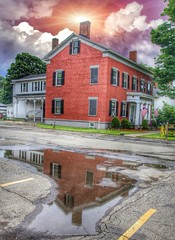 Homer New York -  Briggs-Hall Memorial Home - Reflection (Onasill ~ Bill Badzo) Tags: homer ny newyork state nrhp onasill courtlandcounty briggs hall memorial funeral home readaptive use 1825 mansion william sherman nails manufacture until 2011 banquet manor house historic briggshall reflection sunset rain clouds sky canon eos rebel sl1 macro sigma lens 18250mm