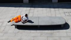 mobile break (II) (pix-4-2-day) Tags: man mann pause break highviz orange bench bank stadt city mobile cellphone handy liegend reclining pix42day