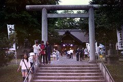 Annual festival (threepinner) Tags: festival mikasa ichikishiri shrine hokkaidou hokkaido northernjapan japan canon av1 nfd 50mm f18 negative iso100 selfdeveloped reversal negaposidevelopment 市来知神社 三笠 北海道 北日本 日本