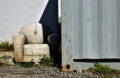 chair (stephen trinder) Tags: stephentrinder stephentrinderphotography aotearoa godzone christchurch christchurchnewzealand kiwi chair old dumped used unwanted container texture shadow sunlight