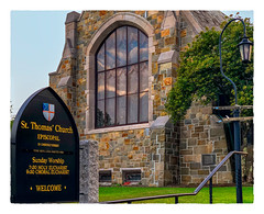 St Thomas' Church (Timothy Valentine) Tags: 2018 wednesday 0818 window church stone lamp vacation sign camden maine unitedstates us
