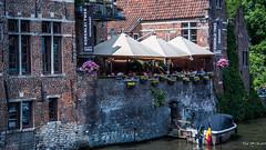 2018 - Belgium - Gent - Korenlei Twee (Ted's photos - For Me & You) Tags: 2018 belgium cropped ghent nikon nikond750 nikonfx tedmcgrath tedsphotos vignetting korenleitwee korenleitweegent korenleitweeghent korenleitweerestaurant brickwall brick restaurant cafe boat canal ghentbelgium umbrellas