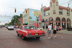 Three-Thirty In The Afternoon (Flint Foto Factory) Tags: flint michigan urban city summer august 2018 home town hometown annual backtothebricks car festival downtown 1964 dodge 330 mopar chrysler corporation haloburger 800 ssaginawst saginawst fourthst red color qp brick street vernors ginger ale mural