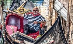 Gondolier at rest (Andy J Newman) Tags: color gondolier italy om street venezia venice beard candid colorefex colour man old olympus portrait rest