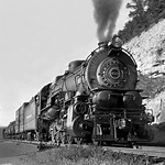 Pennsylvania Railroad I class Decapod (aka Hippo) 2-10-0 steam locomotive # 4525, is seen while leading a manifest freight train is seen on main line, ca late 1930's thumbnail