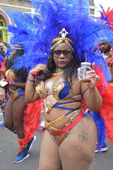 DSC_7528 Notting Hill Caribbean Carnival London Exotic Colourful Blue and Gold Costume with Ostrich Feather Headdress Girls Dancing Showgirl Performers Aug 27 2018 Stunning Ladies Big Beautiful Woman BBW (photographer695) Tags: notting hill caribbean carnival london exotic colourful costume girls dancing showgirl performers aug 27 2018 stunning ladies blue gold with ostrich feather headdress big beautiful woman bbw