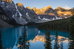 Moraine Lake, sunrise (birgitmischewski) Tags: morainelake banffnationalpark alberta sunrise reflection beautiful