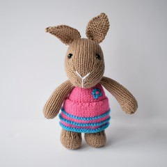 Flora Bunny (Knitting patterns by Amanda Berry) Tags: bunny rabbits rabbit bunnies easter dress pink toy toys handmade crafts hand knit knits knitted knitter now knitters knitting pattern patterns ravelry flora gifts craft crafting hobby hobbies makers making yarn wool soft