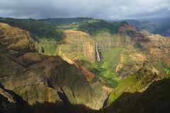 Waimea Canyon Light and Shadow (RobertCross1 (off and on)) Tags: a7rii alpha emount fe1635mmf4zaoss hi hawaii ilce7rm2 kauai sony waimeacanyon waipo'ofalls canyon cliffs clouds fullframe island landscape mirrorless waterfall