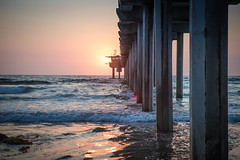 Catching the Sun: Scripps Pier, San Diego, CA (Photos By Clark) Tags: california lajolla beachshots subjects northamerica location canon2470 canon5div unitedstates sandiego cities locale places where us lightroom scripps pier sun sunset waves water pacific thesandiegoist