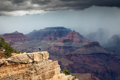 Taunting Fate (Kirk Lougheed) Tags: arizona coloradoplateau grandcanyon grandcanyonnationalpark matherpoint southrim usa unitedstates canyon cloud landscape nationalpark outdoor park rain rim sky storm summer