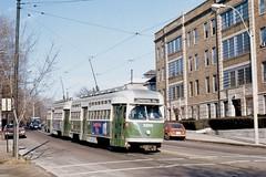 MBTA PCC 3200-3211 SoHuntingtonAve at EvergreenSt Dec1976 (ironmike9) Tags: track rail lightrail transit publictransit bostonma tram trolley streetcar pcc mbta