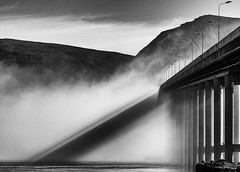 Shadow (Asbjørn Anders1) Tags: tromsø bridge fog foggy mountains water sunlight shadow patterns trigonometry weather sky geometric composition